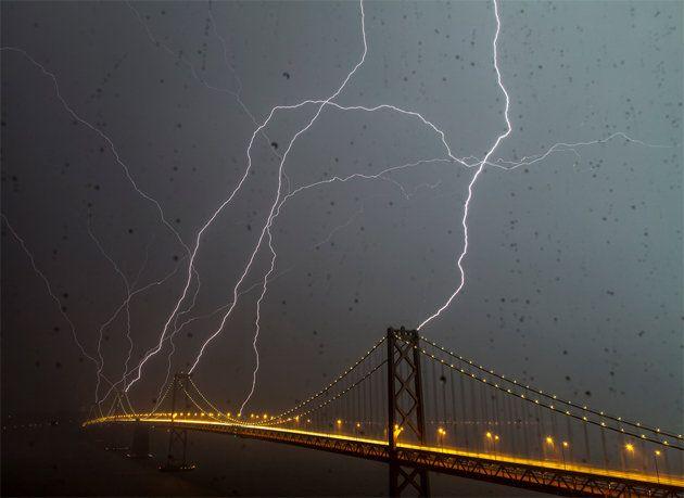 Lightening striking San Francisco/Bay Bridge