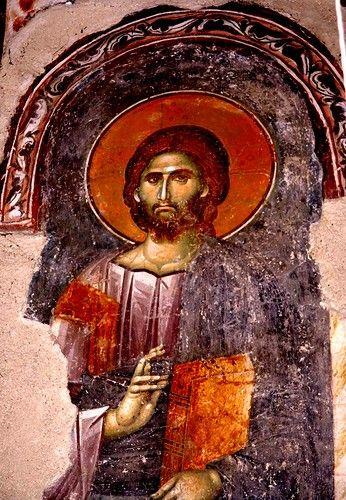 Христос Спаситель. Фреска в церкви Спаса в монастыре Жича, Сербия. 1309 - 1316 годы.