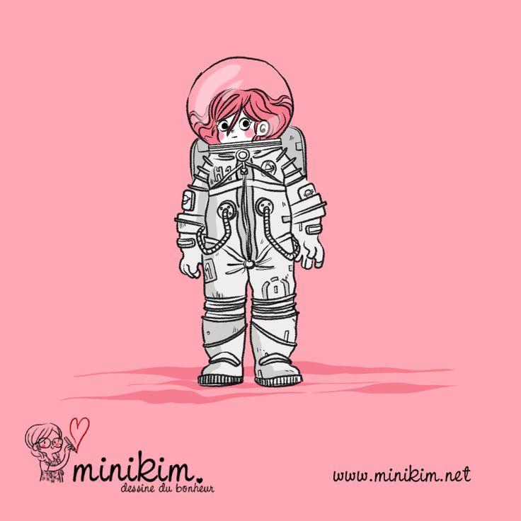 Graine de personnage, Minikim, scaphandre de l'espace,Éole sur la lune, Montréal, costume d'astronaute, astronaute, spationaute, Création de personnage, personnage, dessin, cute, sur la lune, marcher sur la lune, vivre sur la lune, bande dessinée, Fillette