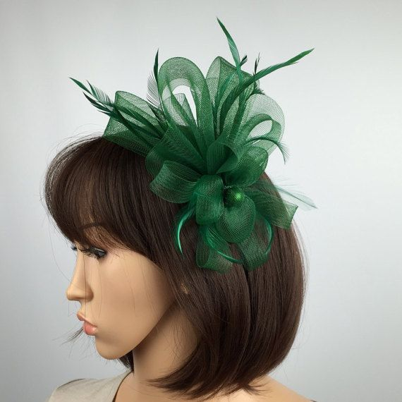 Green Fascinator Flower Mesh And Feather by PrettyElegant1 on Etsy