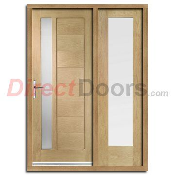 Image of Modena Exterior Oak Door and Frame Set with One Side Screen and Obscure Double Glazing