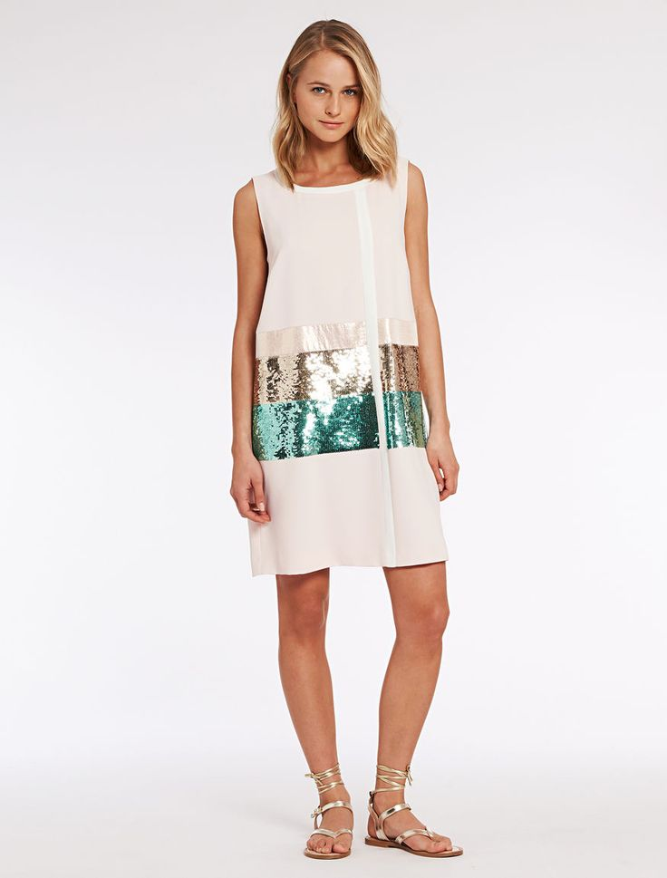 Pennyblack - Dress with sequins and lam�, Powder Pink - This dress is made from envers satin cr�pe fabric. It is adorned with sequinned maxi-stripes, lam� inserts and contrasting edging. Straight, relaxed tunic fit, above-the-knee length. Rounded neck, sleeveless. Lined. - Free Shipping and Returns