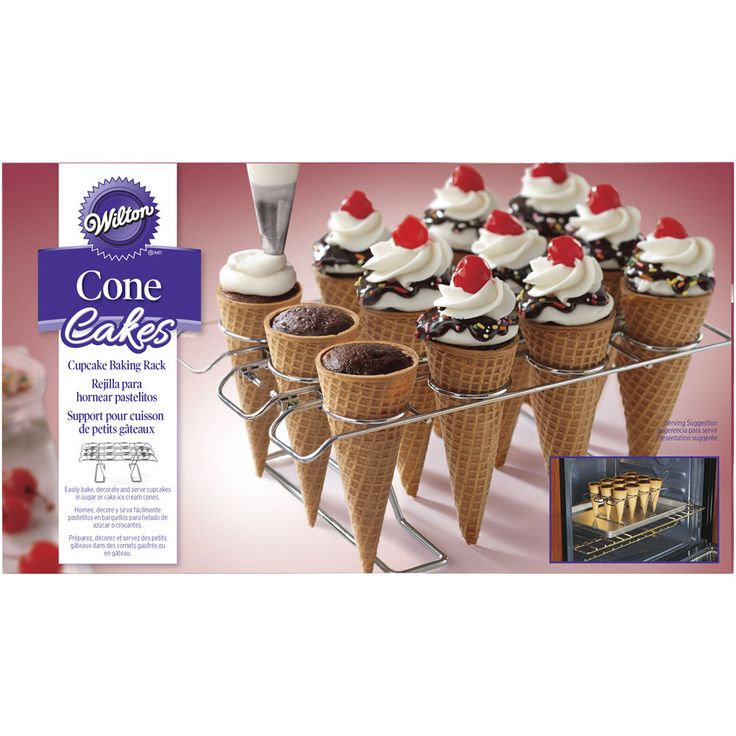 Easily bake, decorate and serve cupcakes in sugar or cake ice cream cones using the Cupcake Cone Baking Rack. It's the fun way to serve and eat cupcakes. Bake them in your favorite ice cream cones using this convenient oven-safe rack.