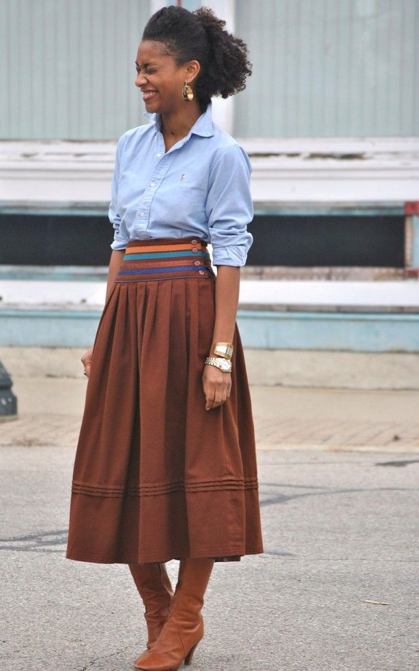 vintage skirt, oxford shirt, boots.