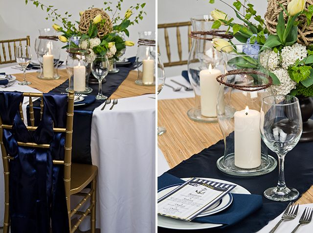 The Earth Tones Used In The Barkwire And Rope Detailing Of The Centerpiece  Complement Our Navy Blue Satin Table Runner Beautifully.