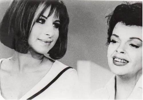 Barbra Streisand and Judy Garland on The Judy Garland Show, October 1963. I love the way Barbra looks at Judy.