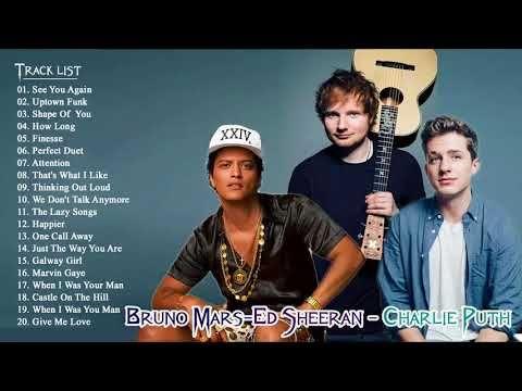 Top 30 Songs Of Bruno Mars, Charlie Puth, Ed Sheeran | Greatest Hits Full Playlist 2018 - YouTube