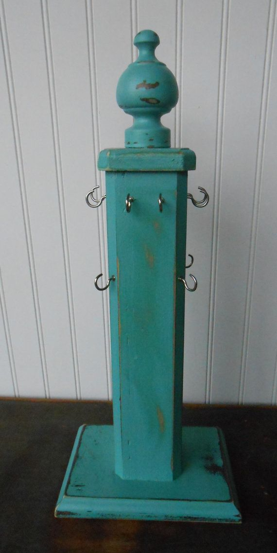 Jewelry Display Stand-Vintage-Repurposed-Preppy- Wood Jewelry Display-Teal Jewelry Stand-ONE OF A KIND-Jewelry Stand-Preppy Jewelry Holder