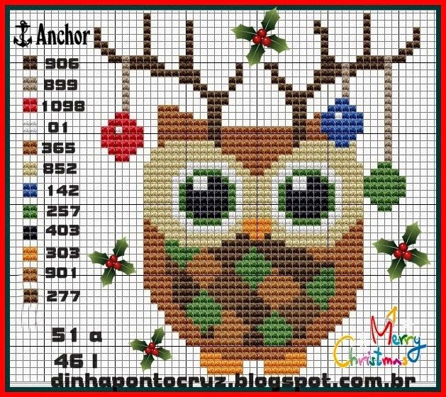 Cross stitch Christmas owl More