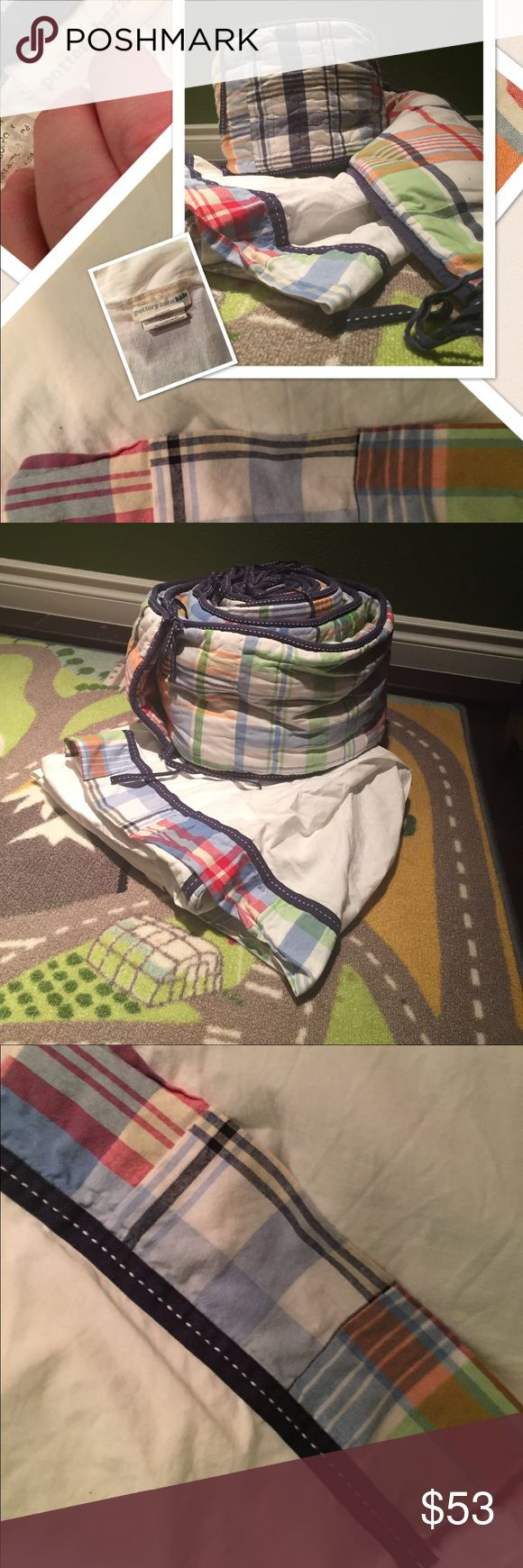 Pottery Barn Kids Madras crib bumper and skirt Madras crib skirt and bumper Other