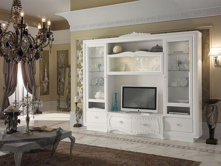 Eliane+-+Eliane+parete+attrezzata,+stucco+fiorentino+cenere+,bloccata+con+luci+interni+misure+H+246+P+55.5+L+298+decorazione+con+foglia+oro+/+argento+.