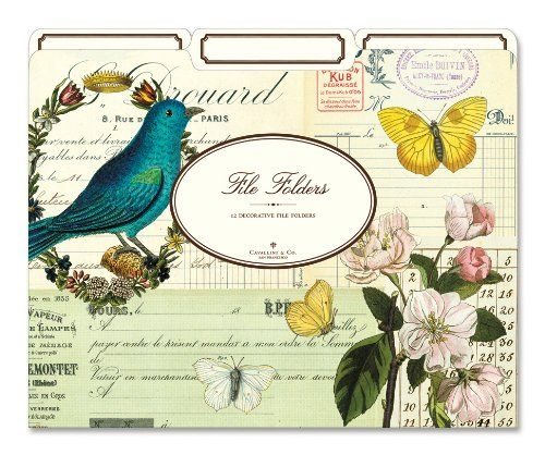 Cavallini File Folders Flora & Fauna, 12 Heavyweight File Folders per Set. Images from the Cavallini archives. One third cut out tabs, fits 8.5x 11 papers. Best quality in the marketplace.