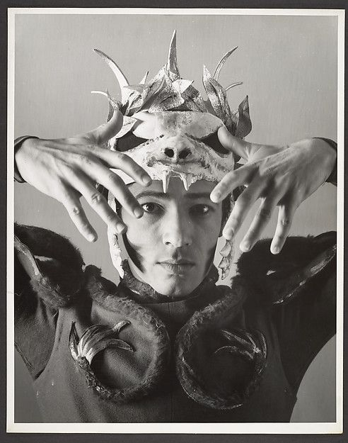 George Platt Lynes (American, 1907–1955). [Dancer in Costume with Animal Skull Headpiece], 1930s–50s. The Metropolitan Museum of Art, New York. Gift of Mr. and Mrs. Russell Lynes, 1983 (1983.1160.17) Rights and Reproduction: © Estate of George Platt Lynes #Halloween