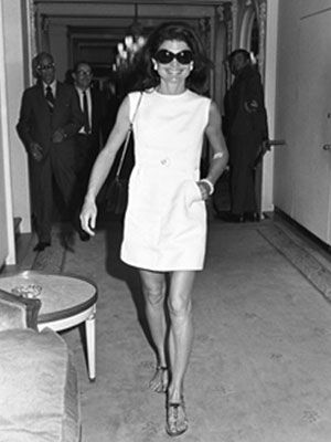 Jackie O. perfect sophisticated short dress with sandals. You know for those moments when you are stepping off your yacht for drinks at the 5-star chi-chi resort.