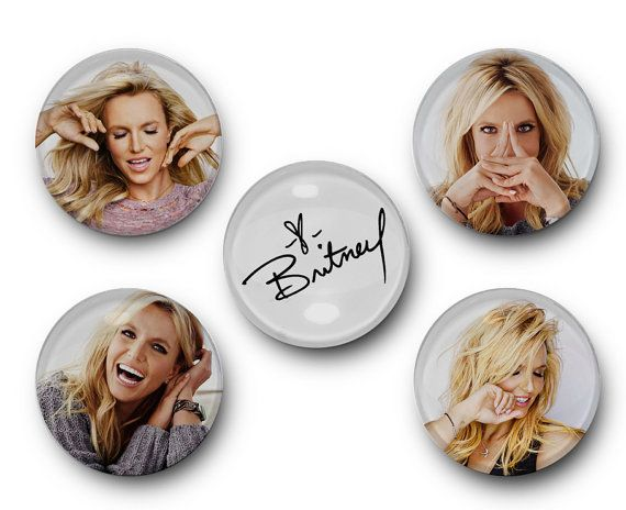 Britney Spears - Set of 5 Glass Magnets - femme fatale, circus, britney jean, album, singer, oops I did it again, magnets, kitchen, office