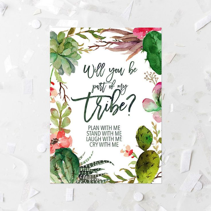 Succulent Will You Be Part Of My Tribe Invitation Printable Cactus Bridesmaid Invitation Succulent Bridesmaid Invite Southwestern Wedding by MossAndTwigPrints on Etsy