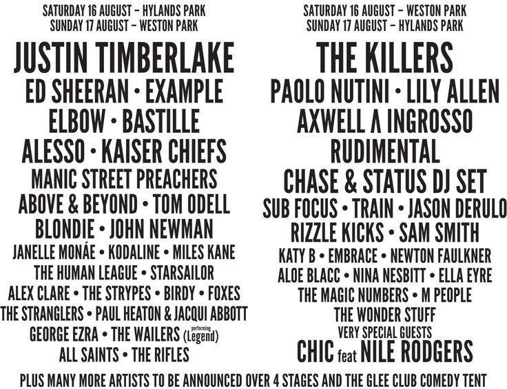 V Festival Line Up 2014