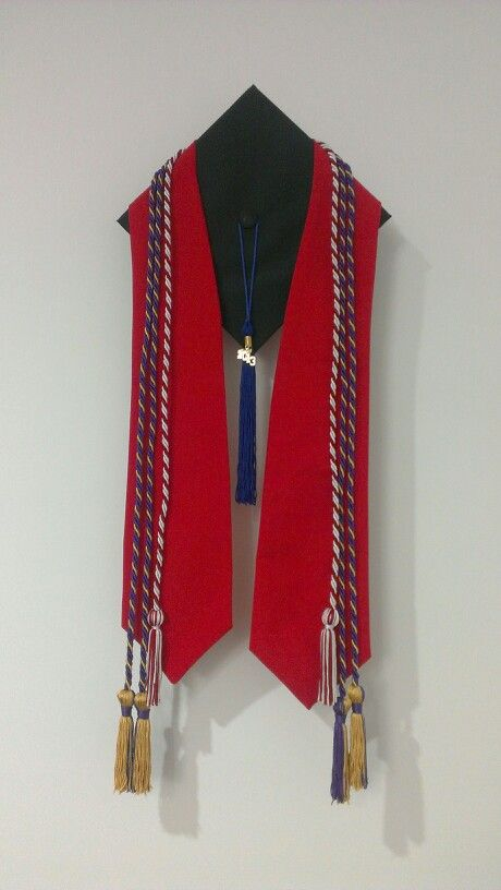 How to reuse graduation attire: Take graduation cap and  accessories and make it into a wall decoration. Hang cap onto the wall and then layer. Great way to display educational accomplishments!