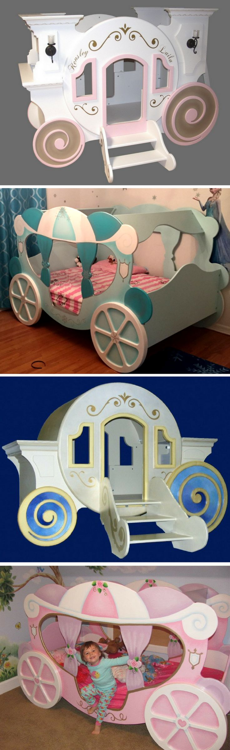 Every princess deserves the chance to ride to the ball in style! And no matter what kind of princess you have, we have the perfect princess carriage bed just for her! These carriages can be either bunk, or single beds, and we can paint them to match any princesses style. Click to learn more!