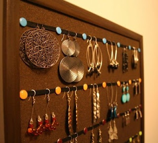 bulletin board + ribbon + decorative tacks + cup hooks + fabric (optional) = fun & functional jewelry organization!!!