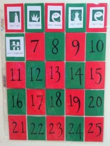 Advent Calendar with baseball card pockets.
