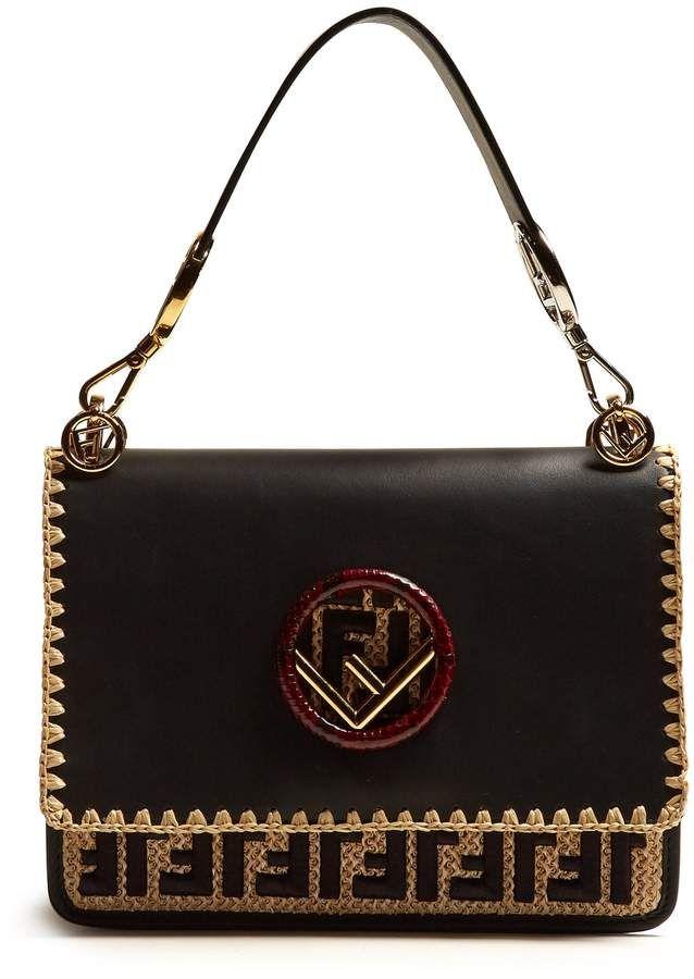 22dbb1a4cf7 FENDI Kan I embroidered-raffia leather shoulder bag | Designer Bags ...