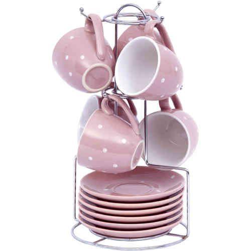 SET 6 TAZZINE POIS - ANGELICA HOME&COUNTRY euro 31.50 Set di ceramica a pois color malva composto da 6 tazzine da caffè, 6 piattini e supporto in acciaio cromato. Per questo e altri complementi d'arredo shabby chic o country chic vieni a trovarci su www.labellesaison.it