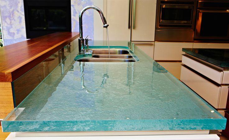 Beautiful glass counter!  thinkglass.com