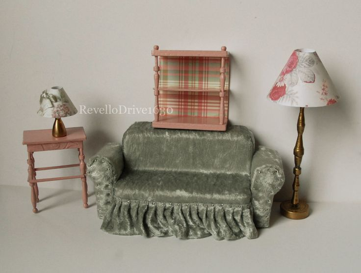 https://flic.kr/p/DUKPAP | Dollhouse furniture 1:12 | I love making dollhouse fürniture. The couch is made out of styrofoam and velvet. Shelf, lamps and the sidetable are wodd, cardboard and paper. You can buy some of it here:  www.revellosworld.de/produkt-kategorie/dollhouse-miniatur...