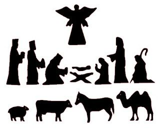 free nativity silhouettes for shadow puppets; could also use for stained glass crafts