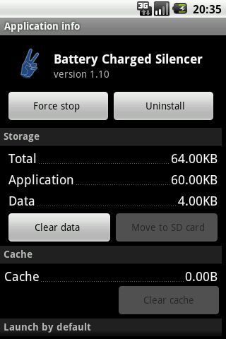 Application mutes battery full charged notification sound and vibration for Samsung Galaxy S2 GT-I9100 and Samsung Galaxy Tab 10.1 GT7510.<p>Application may start work correctly after first or second charging when it self calibrates!<p>Note:<br>If you set Mute From=23:00 Mute To=7:00 it does not mean that notification sounds are muted during this time from 23:00 to 7:00, it means that program mutes sounds within this interval. Notification sounds are muted when battery is at (usually) 99%…