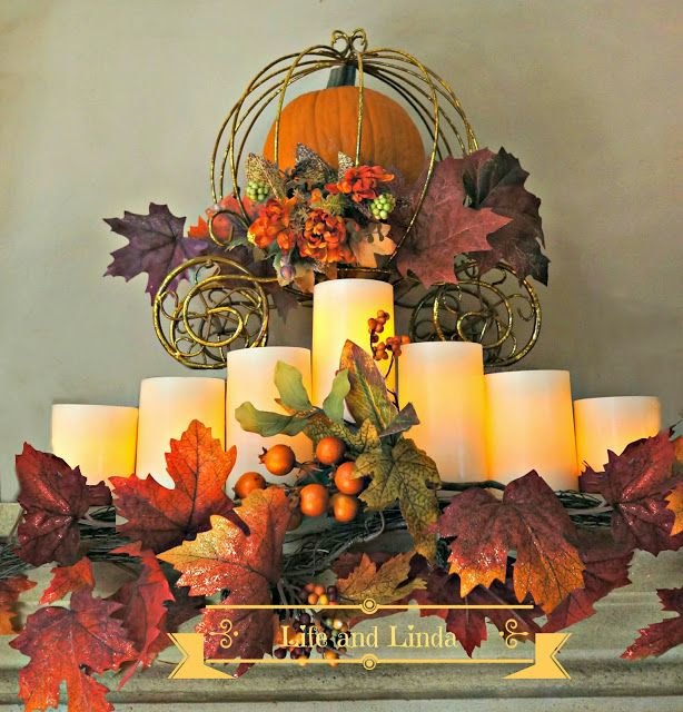 Life and Linda: Harvest Mantel with Gold Pumpkin Carriage