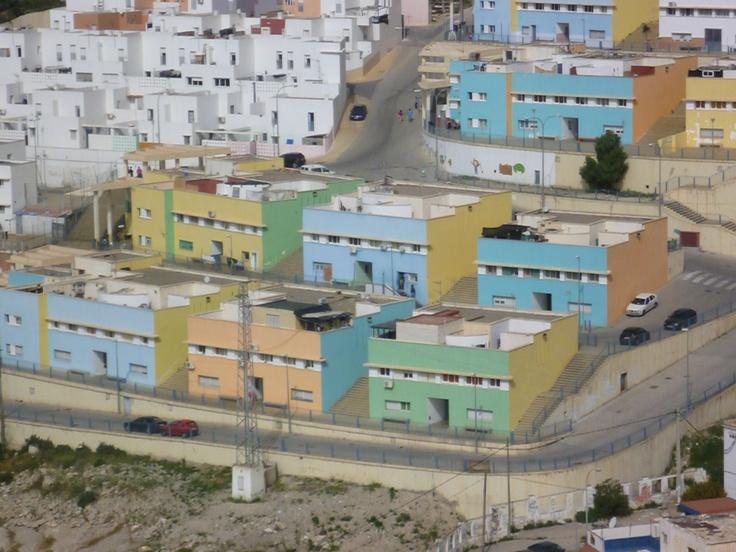 Almería Spain, blue and green buildings, James Hackworthy 2011