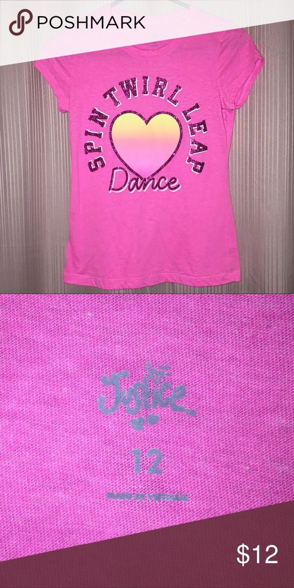 Girls size 12 Justice shirt Like new condition.  No rips or stains.  Pet and smoke free home.  (!) Justice Shirts & Tops Tees - Short Sleeve
