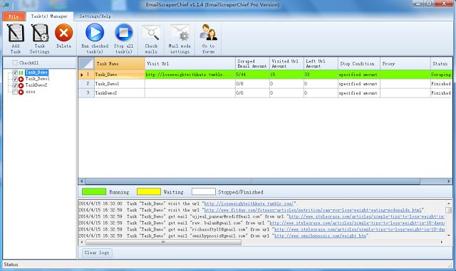 Download Email Scraper Chief Pro  EmailScraperChief is a spider program that can scrape email address from search engine your custom site/page and whole internet. TASK MANAGER Create manage and run multi-tasks at the same time. Very easy to use and super fast. SCRAPING EMAILS Email Scraper Chief is a multi-thread program that can scrape multi-site according to your settings at the same time. You can scrape targeted emails very easily by using different scraping settings. SAVE EMAILS All…