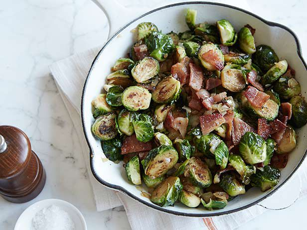 Pan Roasted Brussels Sprouts with Bacon recipe from Sunny Anderson via Food Network