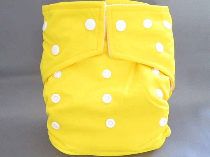Original Cross-Over Squared Tab Snap cloth diaper.  Color: Electric Yellow.
