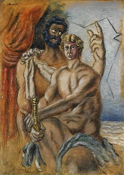 Alberto Savinio - ULISSE E TELEMACO, 1932, tempera...
