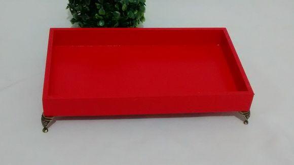 Bandeja Decorativa Vermelha Pés Metal