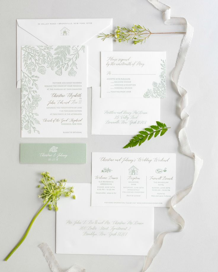 standard size wedding invitation%0A Monochromatic Illustrated Botanical Wedding Invitations