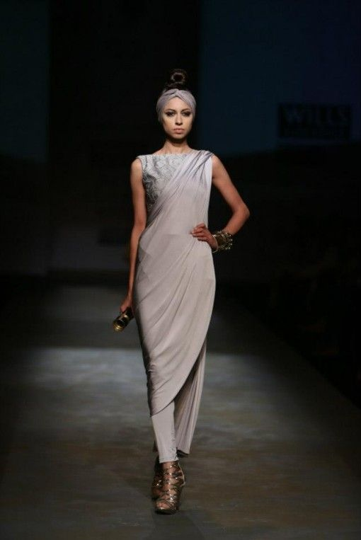 Shantanu & Nikhil wifw a/w 2013 silver grey wrap dress churidar