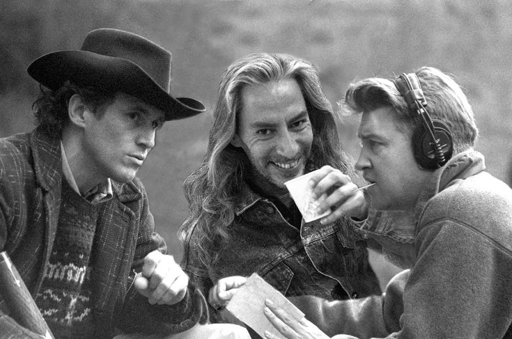 Michael Ontkean (Sheriff Harry S. Truman), Frank SIlva (Killer BOB), and David Lynch, on the set of Twin Peaks: Fire Walk With Me. Photo by Richard Beymer (a.k.a. Ben Horne).