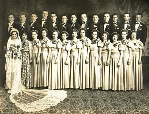 Bridesmaids & Groomsmen -  Roman Law said 10 witnesses where necessary & this was to confuse evil spirits at the wedding. By dressing the witnesses the same as the bride & groom the spirits would not know who was getting married! The Victorians also kept up this tradition. Xx