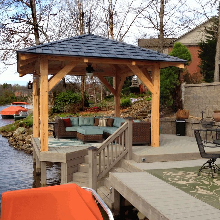 With Its New Roof And Tasteful Outdoor Furniture, This 12 X 12 Bald Cypress  Pavilion