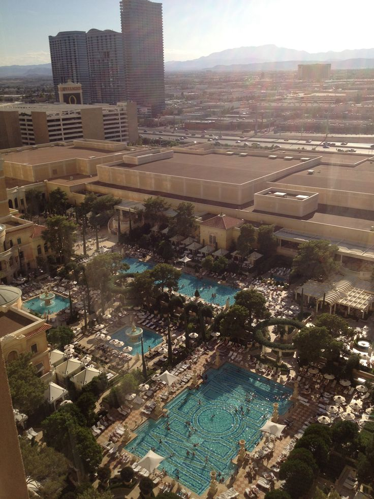 The view from our hotel room window: the Bellagio swimming pools.