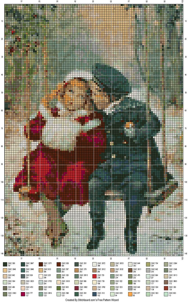 An adaptation from an old vintage postcard by using http://stitchboard.com/ - free pattern wizard application!