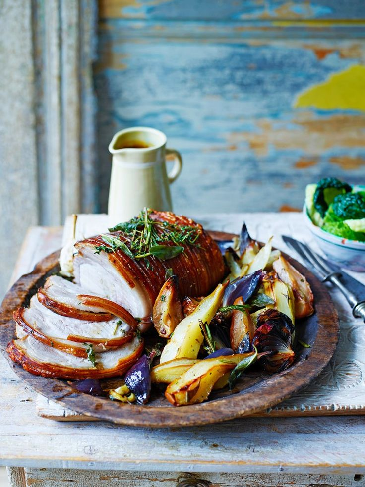 Pear-roasted pork loin with pears, sage and a pine nut stuffing.