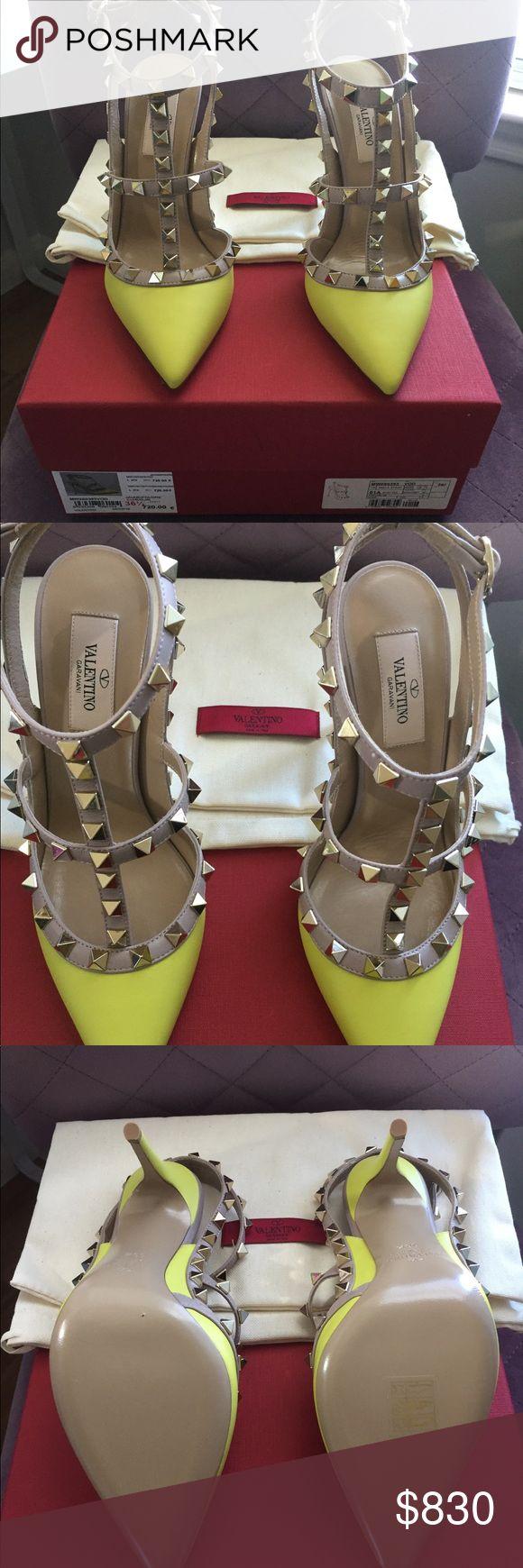 Valentino studded heels A brand new yellow Valentino studded heels with dust bag. Valentino Shoes Heels