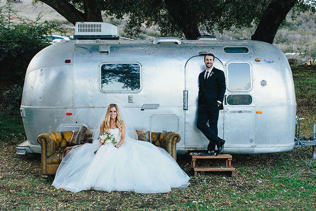 Talia and Bryan, Milwaukee Brewers Baseball Player, Temecula CA Food Truck Wedding, Bride and Groom Outside Airstream