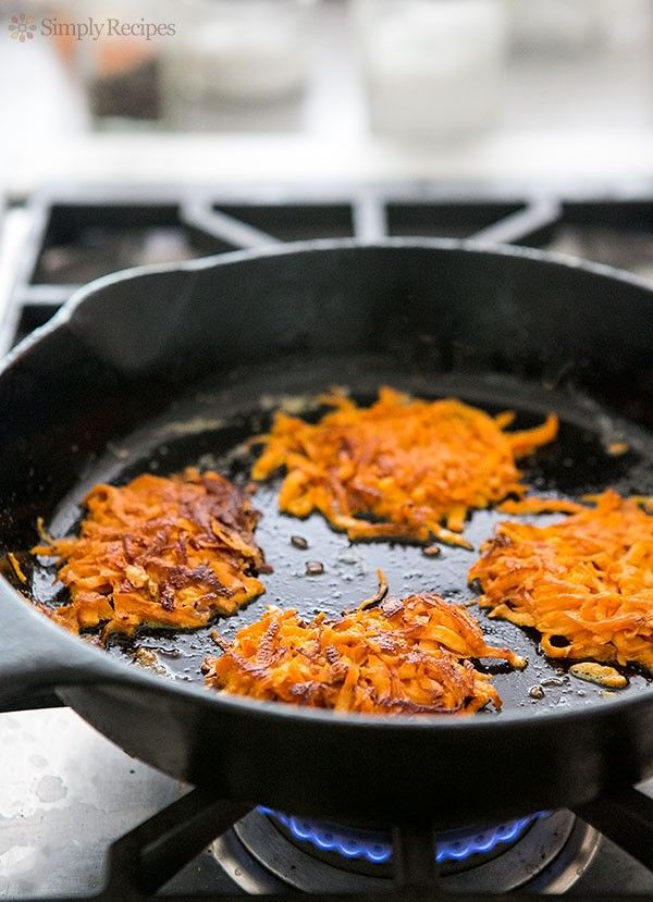 Best hash browns ever! Sweet potato hash browns made with grated sweet potatoes fried in butter. Only 2 ingredients plus salt and pepper. On SimplyRecipes.com
